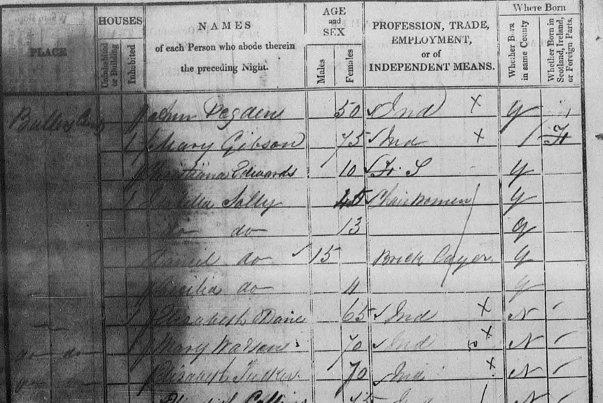 Mary Christianna Edwards 1841 Census, Bullers Court, Margate
