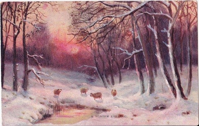 A winter evening, vintage postcard sent 1907