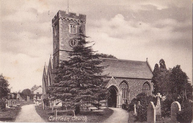 Vintage postcard of Caerleon Church, Newport, Gwent