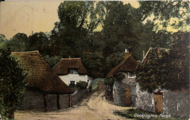 Vintage postcard of Cockington Forge, Torquay, Devon