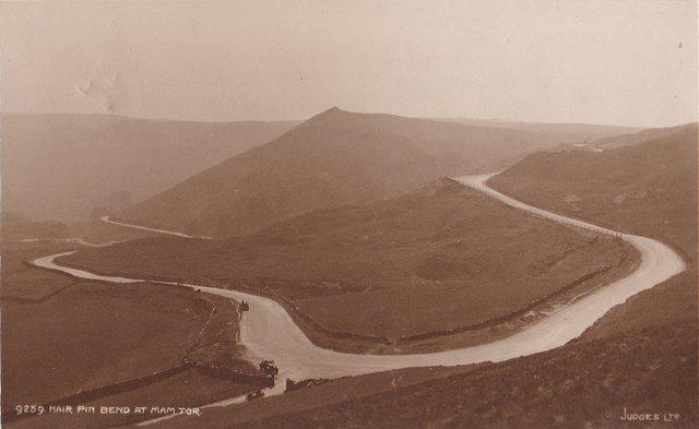 Hair Pin Bend at Mam Tor (Derbyshire, High Peak) vintage postcard