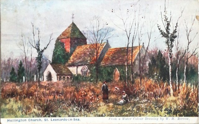 Vintage postcard sent 1911 of Hollington Church, St Leonards-on-Sea, Sussex