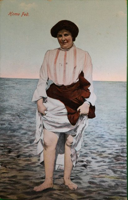 Vintage postcard lady paddling at the seaside. Home Fed.  Publisher: Jay Em Jay Series