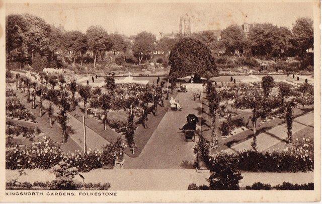 Vintage postcard sent 1937. Kingsnorth Gardens, Folkestone, Kent