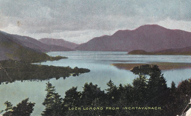 Vintage postcard of Loch Lomond from Inchtavanach