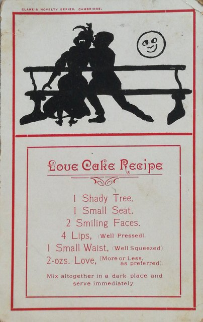 Love Cake Recipe.  Vintage postcard sent 1908