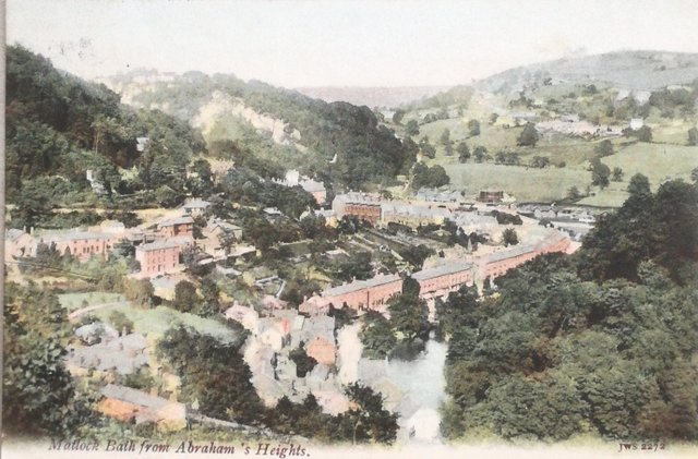 Vintage postcard of Matlock Bath from Abraham's Heights