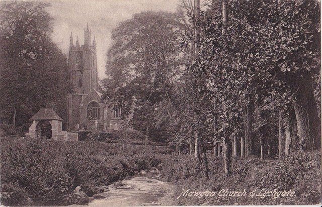 Vintage postcard of Mawgan Church and Lychgate, Cornwall