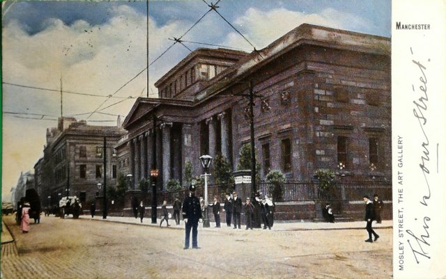 Vintage postcard sent 1904 Mosley St, The Art Gallery, Manchester