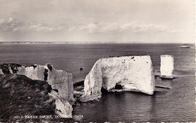 Vintage postcard of Old Harry Rocks, Isle of Purbeck, Dorset