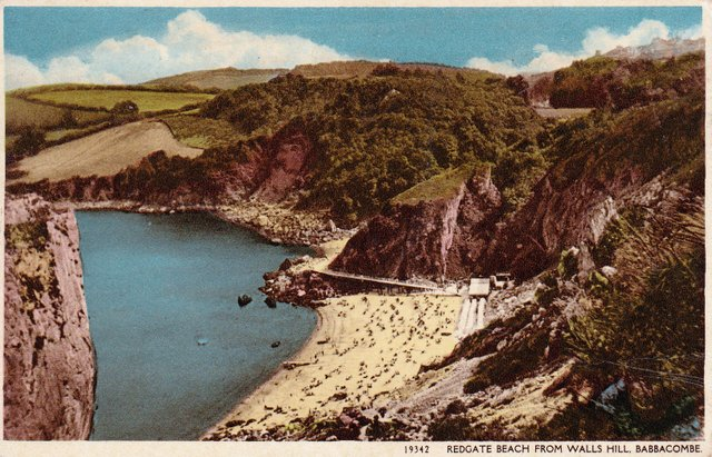 Vintage postcard of Redgate Beach from Wallis Hill, Babbacombe, Devon
