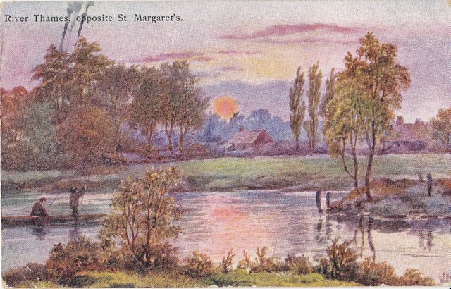 River Thames, opposite St Margaret's (Richmond upon Thames) vintage postcard