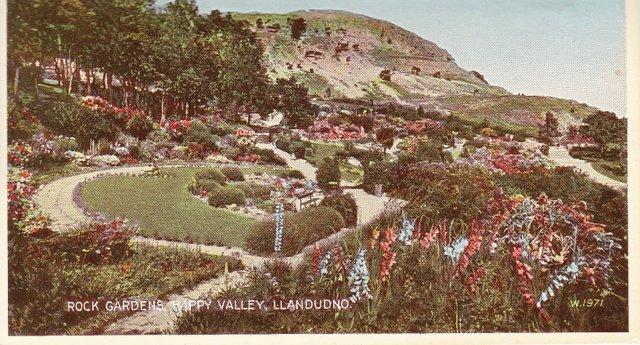 Vintage postcard of Rock Gardens, Happy Valley, Llandudno