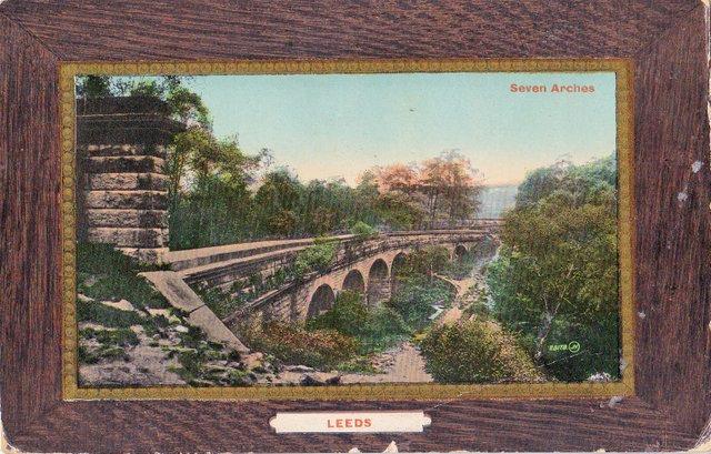 Vintage postcard sent 1910, Seven Arches, Leeds, Yorkshire