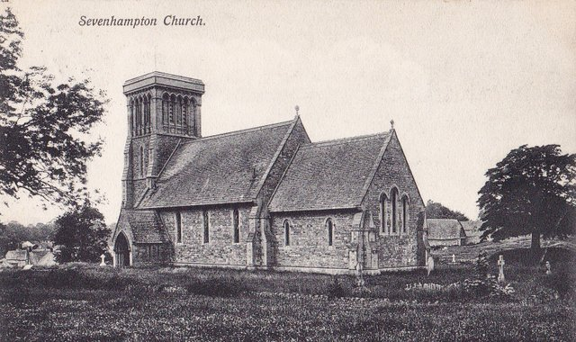 Vintage postcard 1906, Sevenhampton Church, Wiltshire