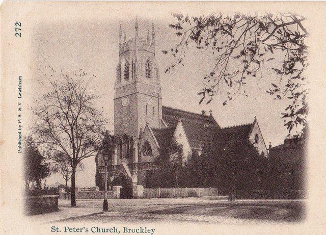 St Peter's Church, Brockley, London vintage postcard 1905