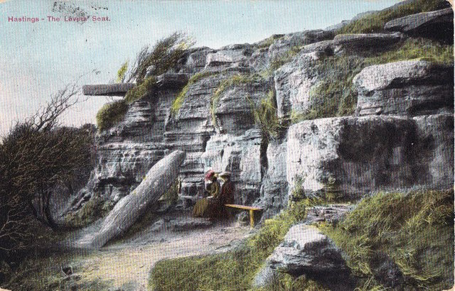 Hastings, the Lovers Seat, vintage postcard