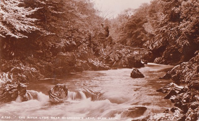 Vintage postcard of The River Lyon nea McGregor's Leap, Glen Lyon, Perthshire.