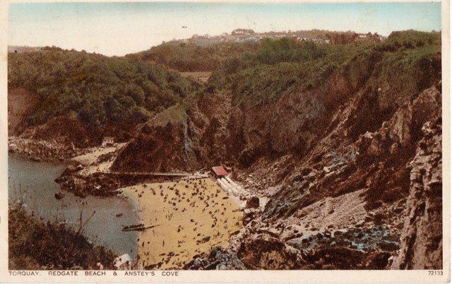 Vintage postcard of Torquay, Redgate Beach & Anstey's Cove, Devon
