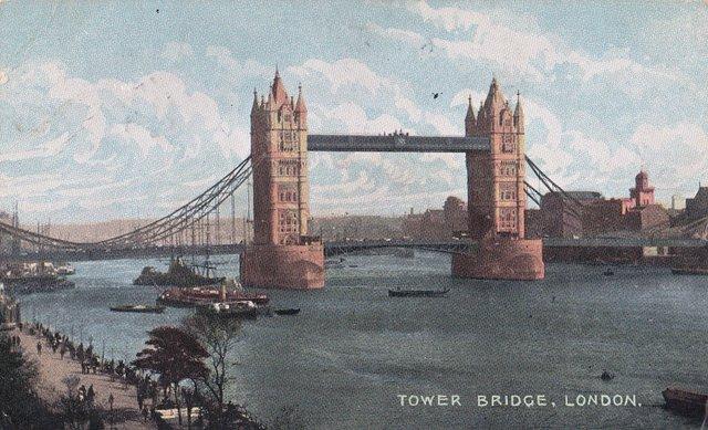 Tower Bridge, London vintage postcard