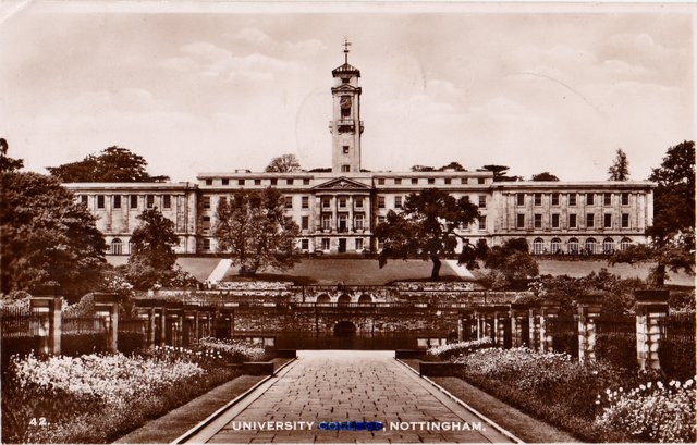 University College Nottingham, vintage postcard