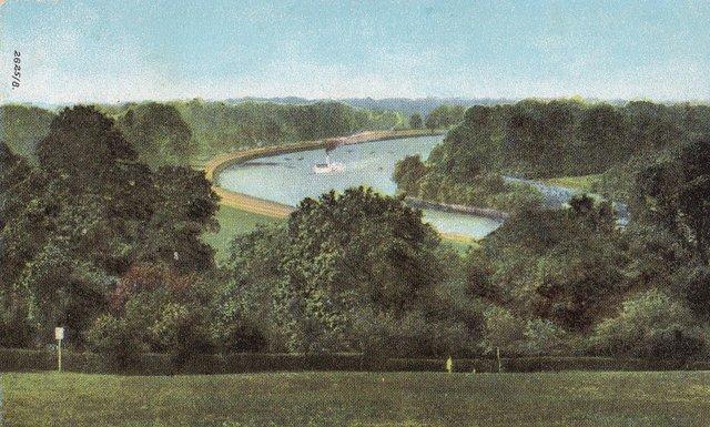 View from Richmond Hill, Surrey, vintage postcard