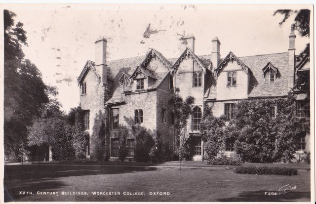 Vintage postcard of Worcester College, Oxford