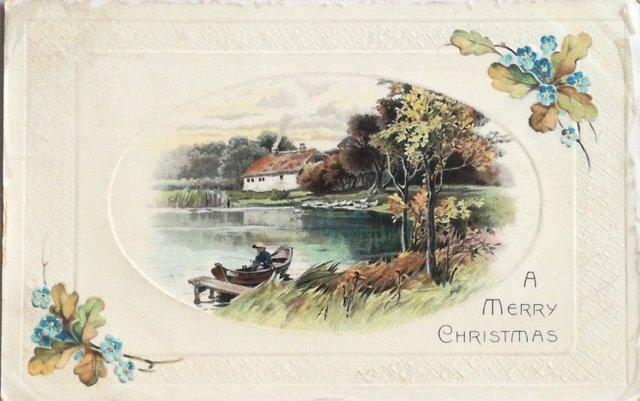 A Merry Christmas vintage postcard
