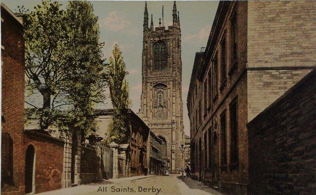 All Saints, Derby, old postcard