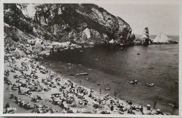 Vintage postcard of Ansteys Cove, Torquay, Devon
