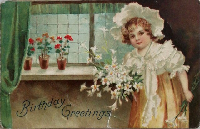 Vintage birthday postcard