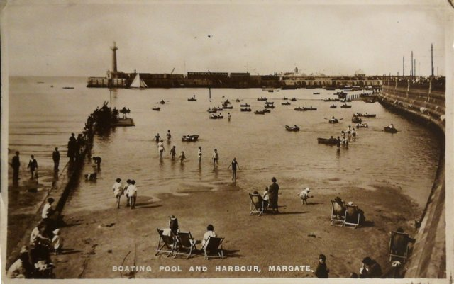 Vintage postcard of Boating pool and harbour, Margate