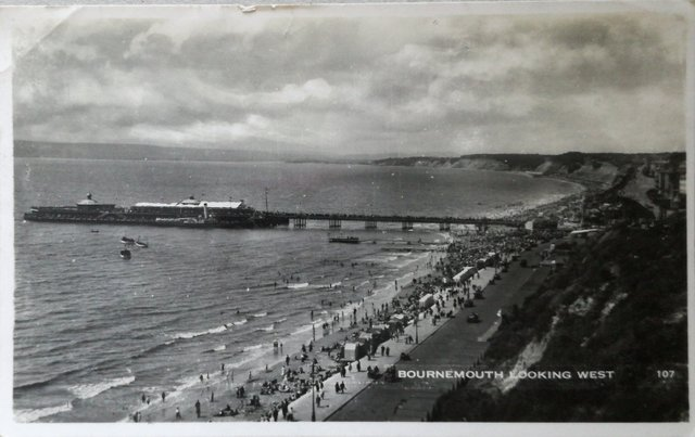 Vintage postcard of Bournemouth looking west