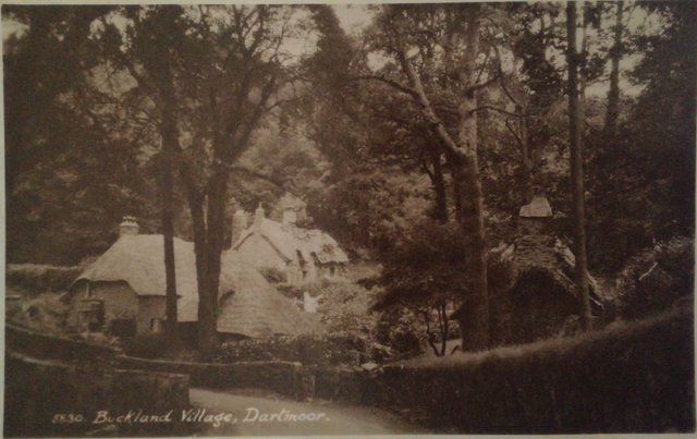 Old postcard of Buckland Village, Dartmoor, Devon