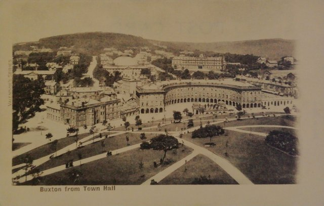 Buxton, Derbyshire from Town Hall, old postcard
