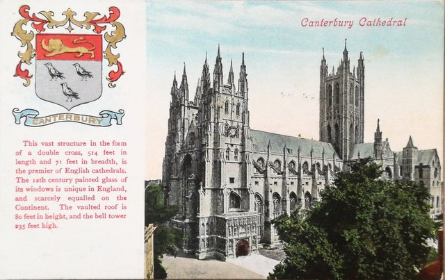 Vintage postcard of Canterbury Cathedral, Kent