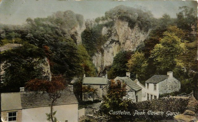 Vintage postcard of Castleton, Peak Cavern Gorge.
