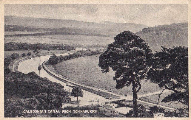 Caledonian Canal from Tomnahurich, vintage postcard