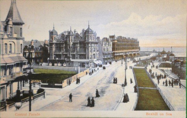 Vintage postcard of Central Parade, Bexhill on Sea