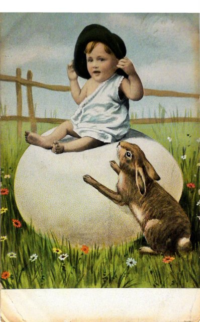 Child, rabbit and giant egg easter card