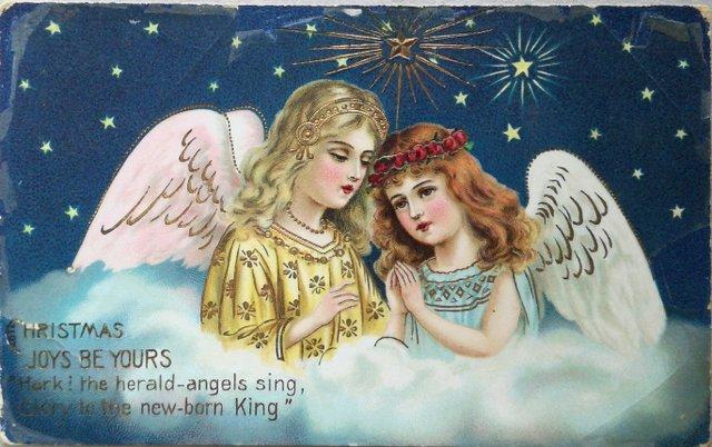 Christmas joys be yours, vintage christmas card greetings