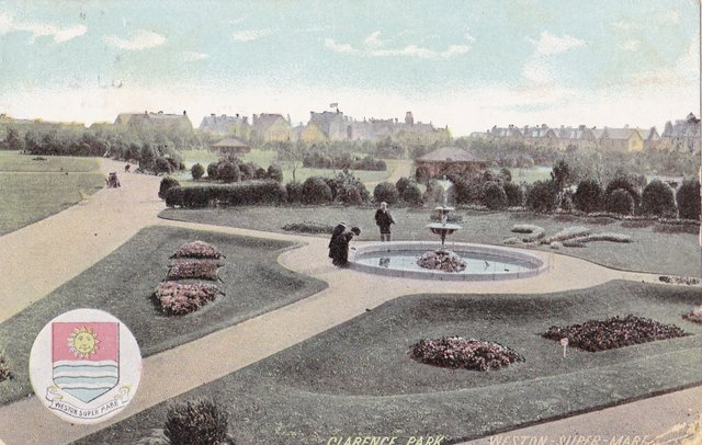 Vintage postcard of Clarence Park, Weston Super Mare, Somerset