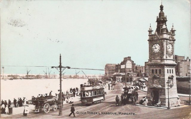 Vintage postcard of the Clock Tower and Harbour, Margate, Kent