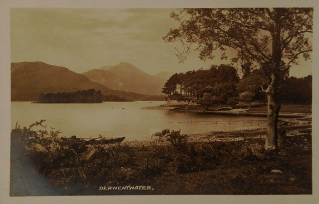 Vintage postcard of Derwentwater and Causey Pike from Walla Crag, Keswick, Cumbria, Lake District