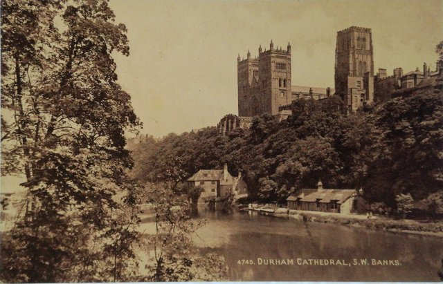Durham Cathedral, SW Banks, old postcard