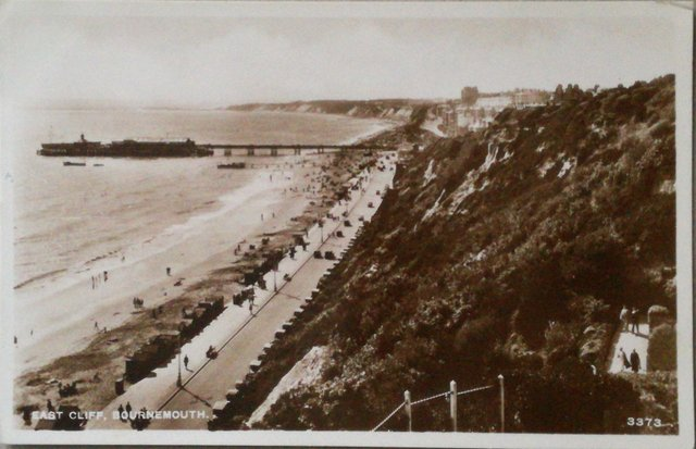 Vintage postcard of East Cliffe, Bournemouth