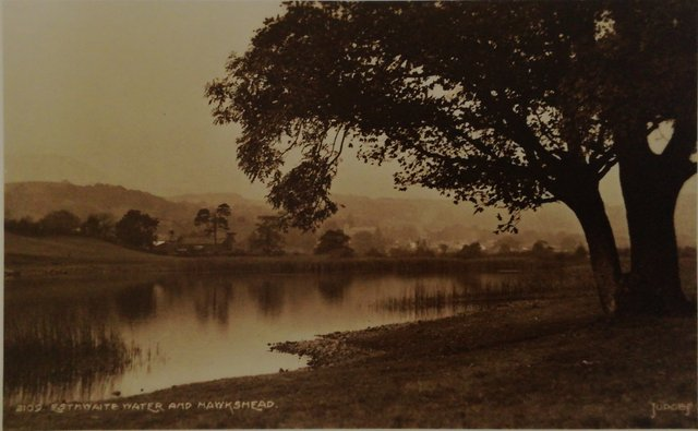 Vintage postard of Esthwaite Water and Hawkshead