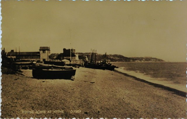 Fishing Boats at Hythe, Kent, old postcard