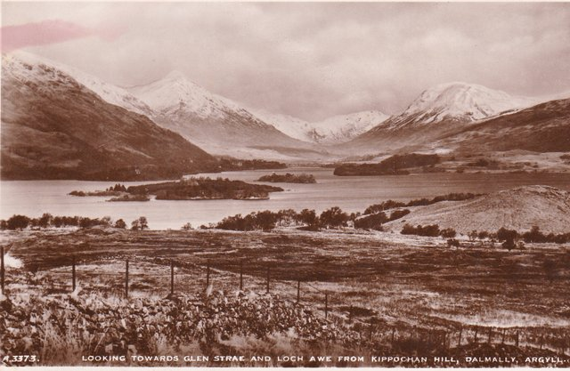 Vintage postcard of view toward Glen Strae and Loch Awe from Kippochan Hill, Dalmally, Agyll.