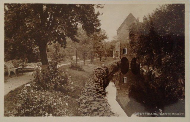 Old postcard of Greyfriars, Canterbury, Kent